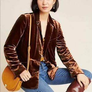 COPY - NWT $158 ANTHROPOLOGIE Velvet Blazer Brown…